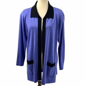 Exclusively Misook Periwinkle Knit Open Jacket